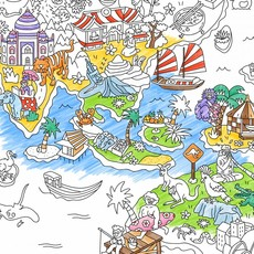 OMY OMY Giant Coloring Poster - A huge world map