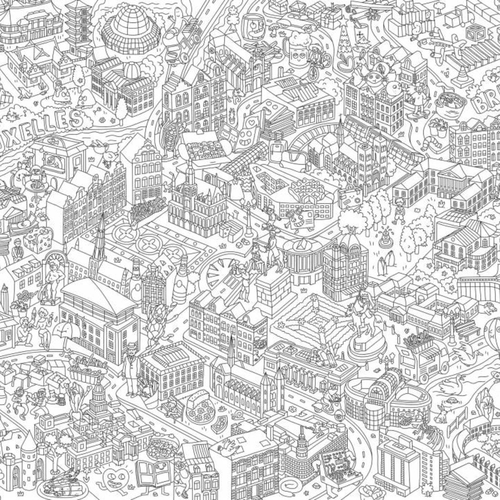 OMY Poster géant à colorier Bruxelles