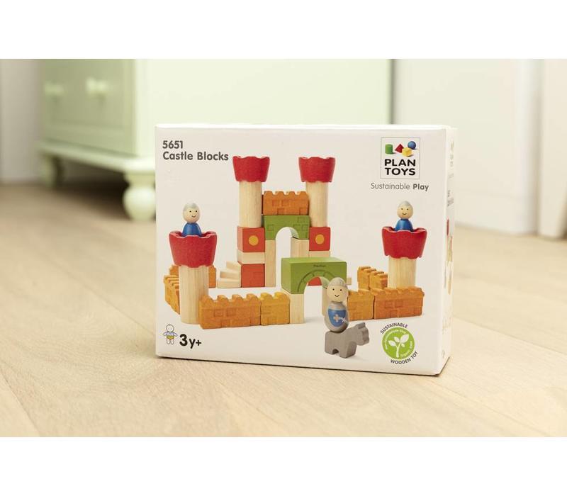 Bouw je eigen kasteel met deze Plan Toys bouwblokken