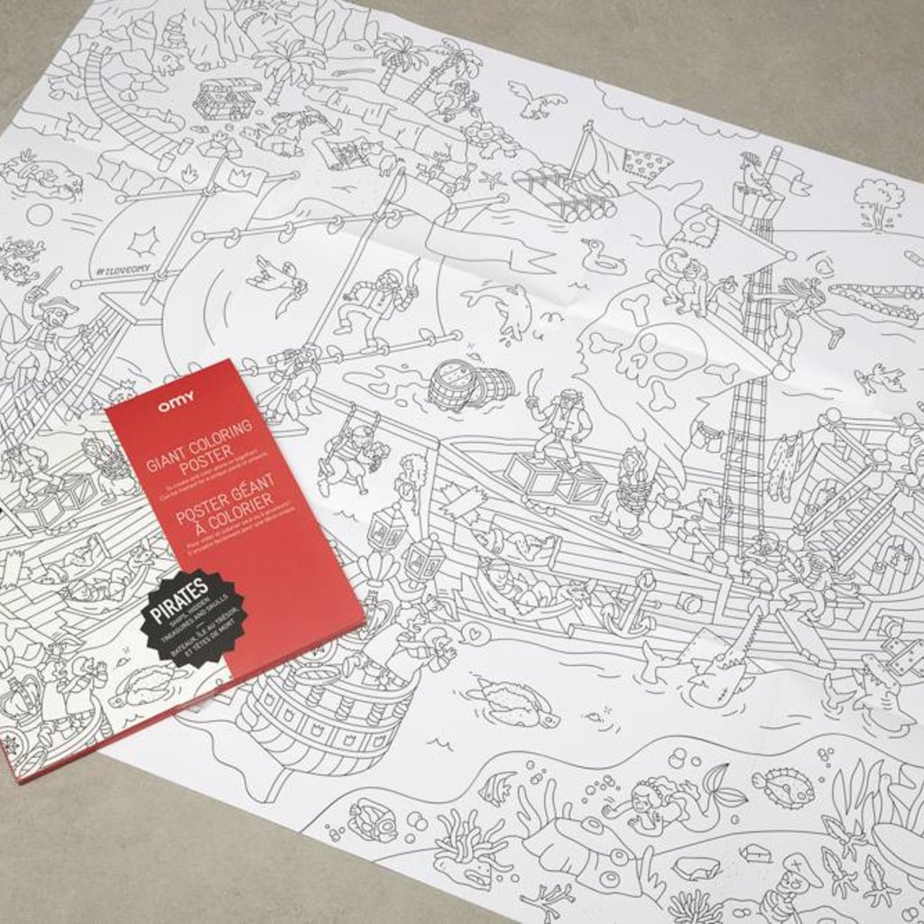 OMY OMY Giant Coloring Poster - Ships, hidden treasures and skulls