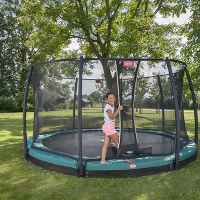 BERG trampolines Trampoline Inground Champion Vert 380 + filet de sécurité Deluxe