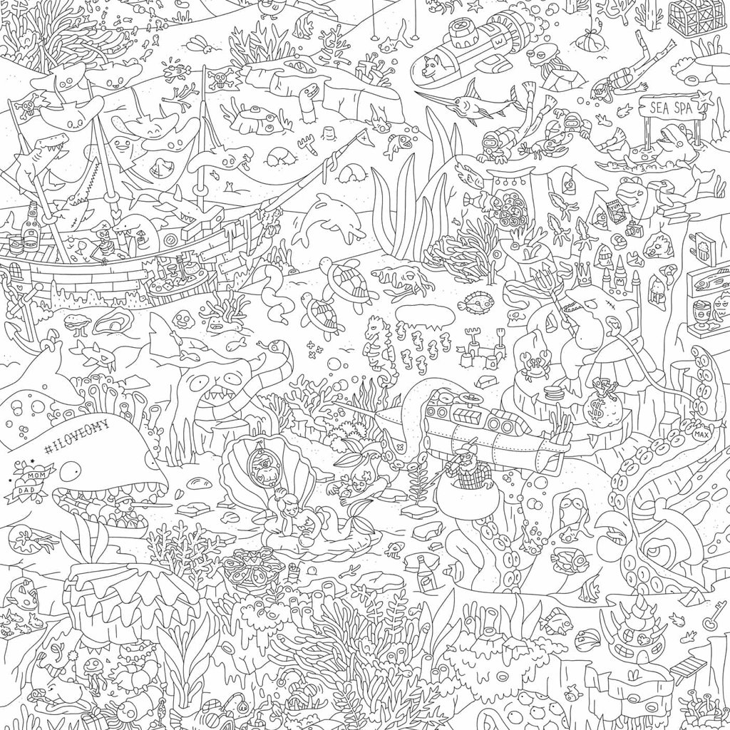 OMY Poster géant à colorier Océan