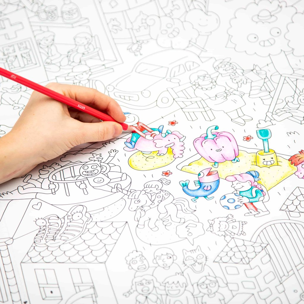 OMY Poster géant à colorier Le mini monde des enfants