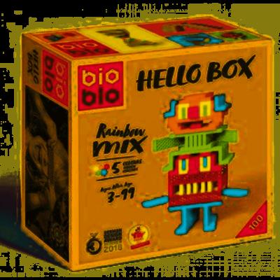 BioBlo Hello Box rainbow 100 blocs de construction