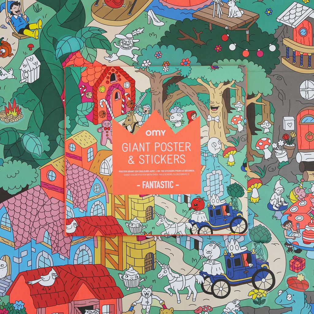 OMY Poster à colorier Fantastic avec stickers