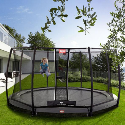 BERG trampolines Trampoline Inground Champion Gris 380 + filet de sécurité Deluxe
