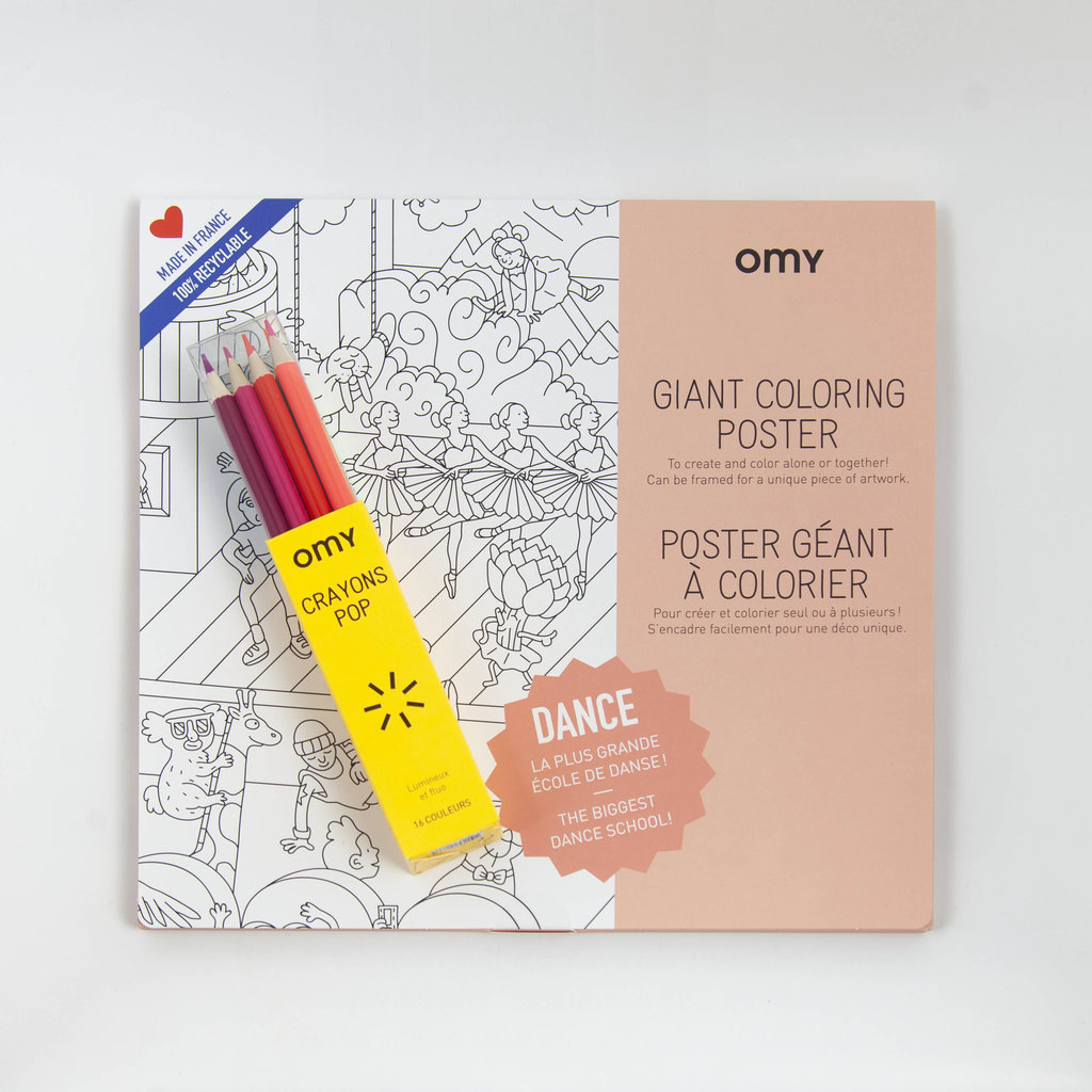 Fairplace OMY poster  à colorier Dance + crayons pop