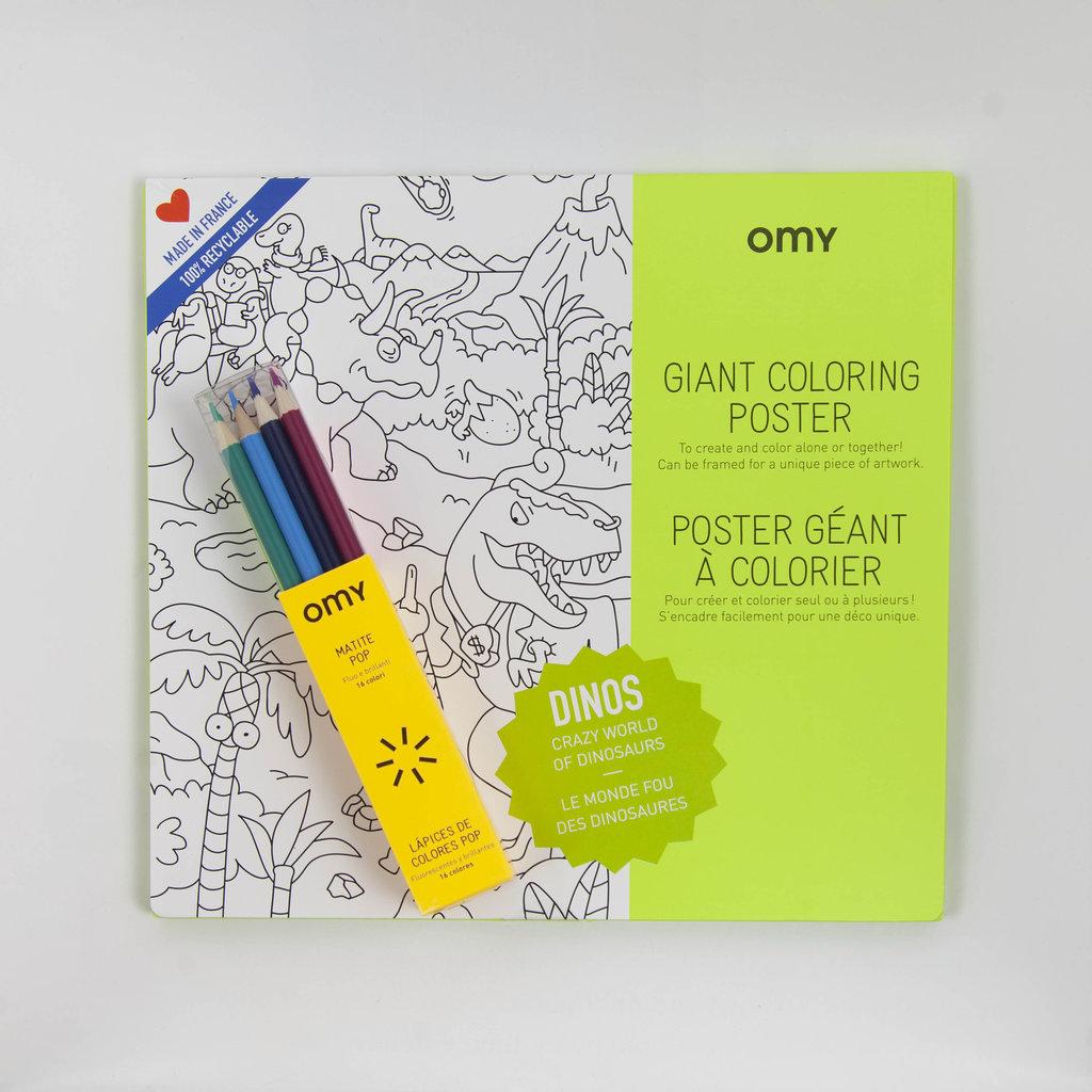 Fairplace OMY kleurposter Dinos + pop kleurpotloden