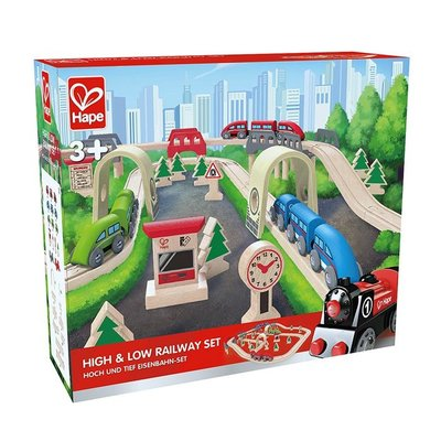 Hape High and low wooden trainset