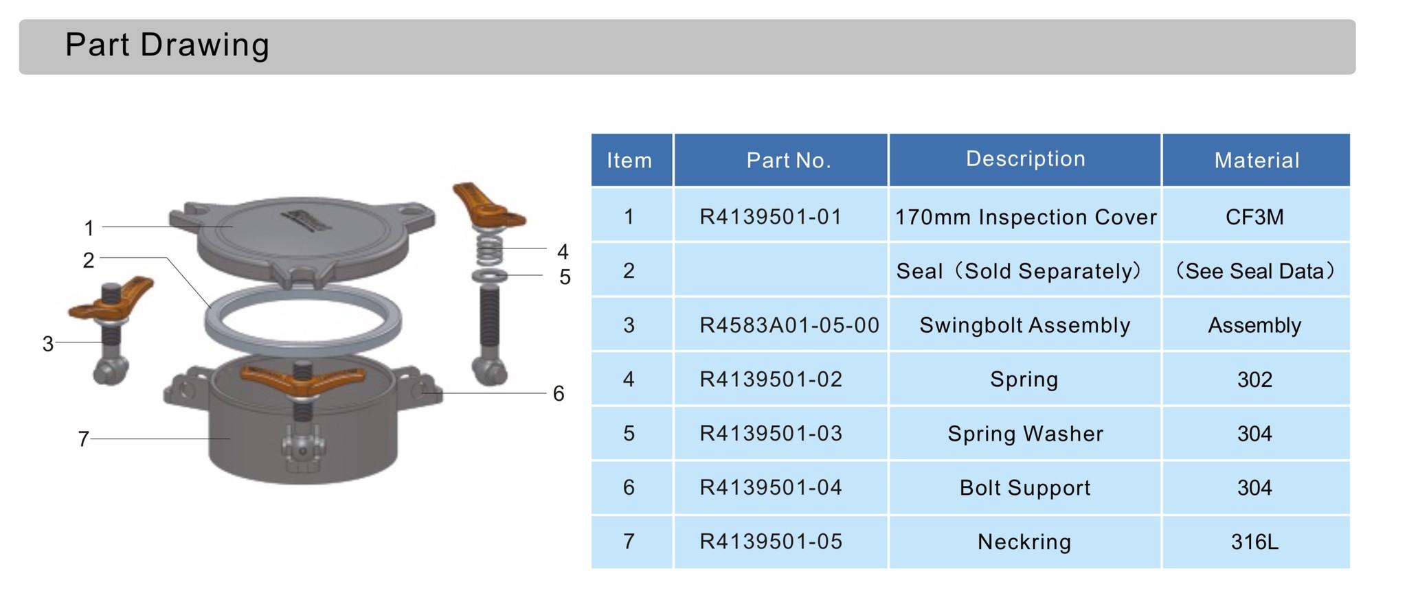 Escotilla de inspección 170 mm R4139501-00 Dibujo de pieza