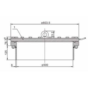 500 mm FBM Manlid Assembly SS 316L 20 puntos