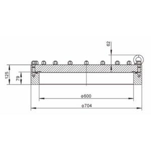600 mm FBM Manlid Assembly SS316L 20 puntos