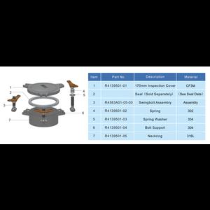 Anneau de cou acier inoxydable 316L pour 170 mm Inspection de trou d'homme
