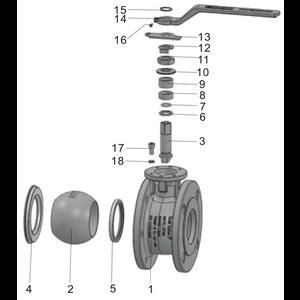 """Husillo para válvula de bola de diámetro total de 3"""""""