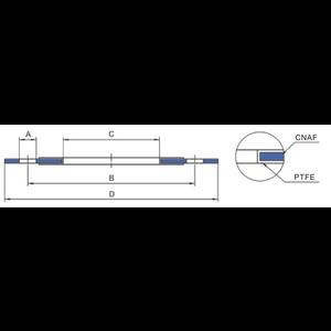 Junta, plana, redonda, CNAF / PTFE, diámetro interno 94 mm