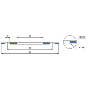 Pakking, plat, rond, CNAF / PTFE, inwendige diameter 94 mm