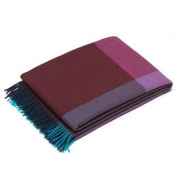 textiel COLOUR BLOCK BLANKETS BLUE-BORDEAUX