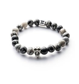Juwelen GEMINI SKULLY 8MM MAT GREY M