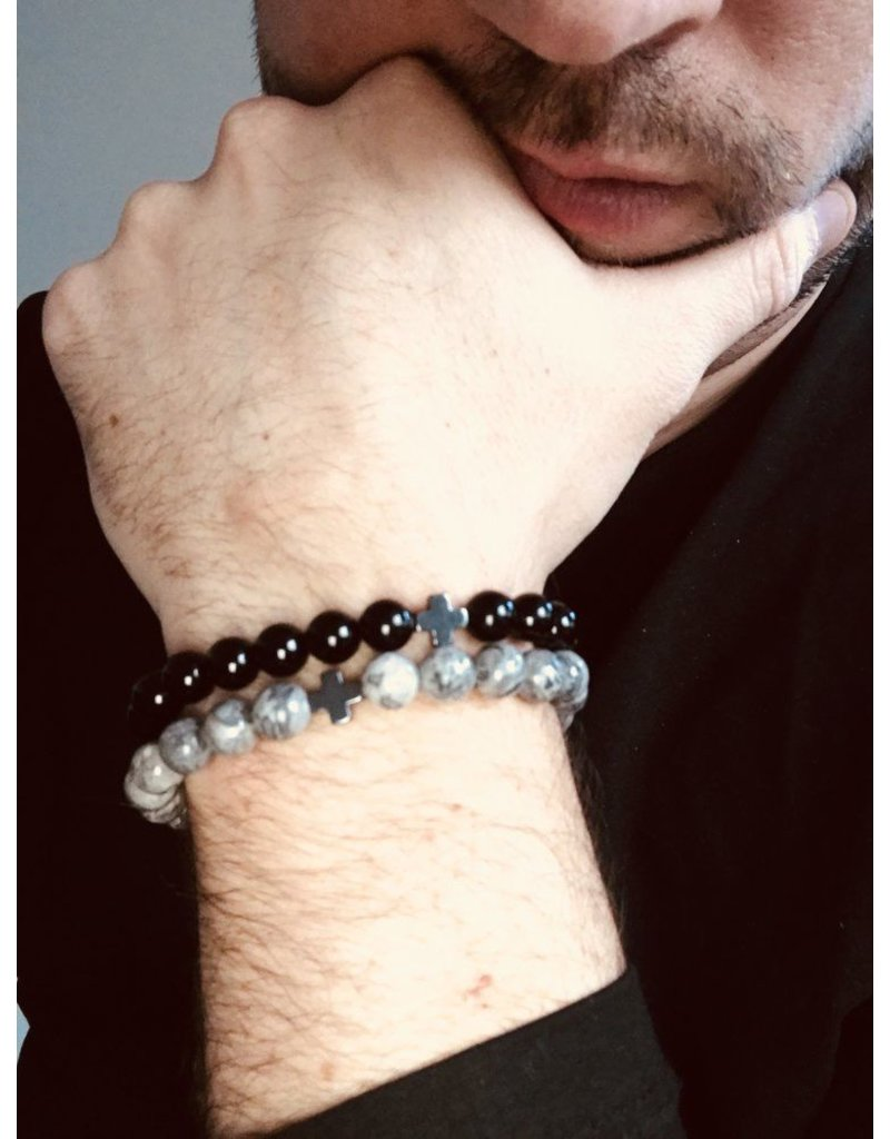 Juwelen CLASSIC 8MM CROSS GREY M