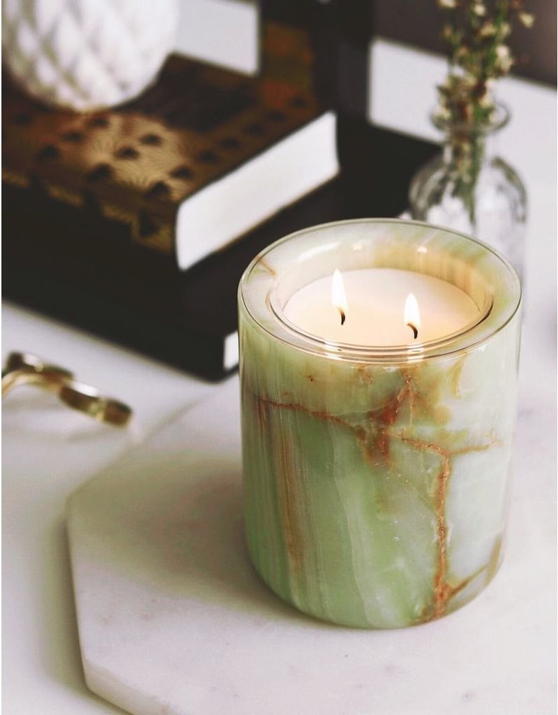 Kaarsen GREEN ONYX CANDLE HOLDER