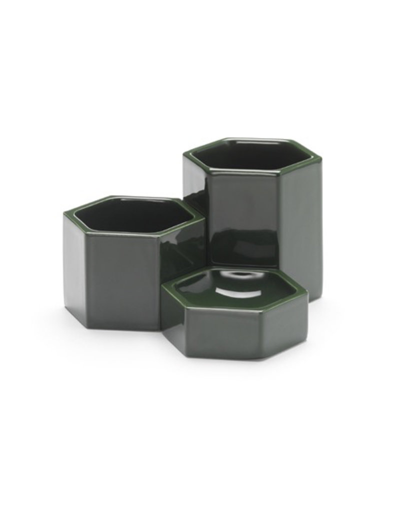 accessoires HEXAGONAL CONTAINERS DARK GREEN SET OF 3