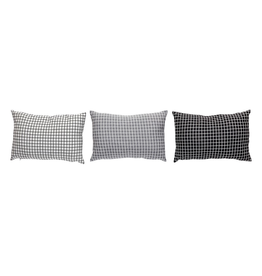 kussens CUSHION W/PATTERN, LIGHT GREY, DARTK GREY, BLACK, SET/3 40X60CM