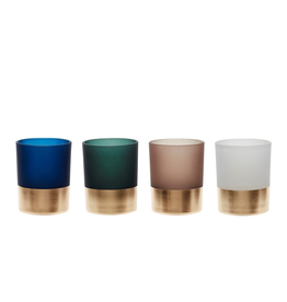 Vaasjes Tealight glass w/brass base, green/white/blue/brown/brass, SET/4