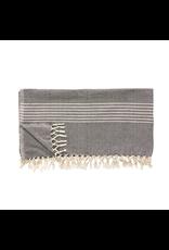 textiel PLAID W / STRIPES, COTON, GRIS FONCE / BLANC, 140X200CM