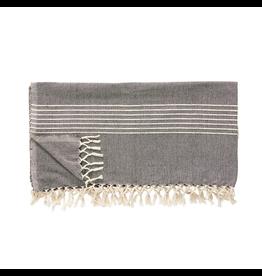 textiel PLAID W/STRIPES, COTTON, DARK GREY/OFFWHITE, 140X200CM