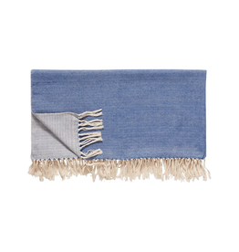 textiel PLAID COTTON BLEU / HAUTEUR 140 x 200 cm