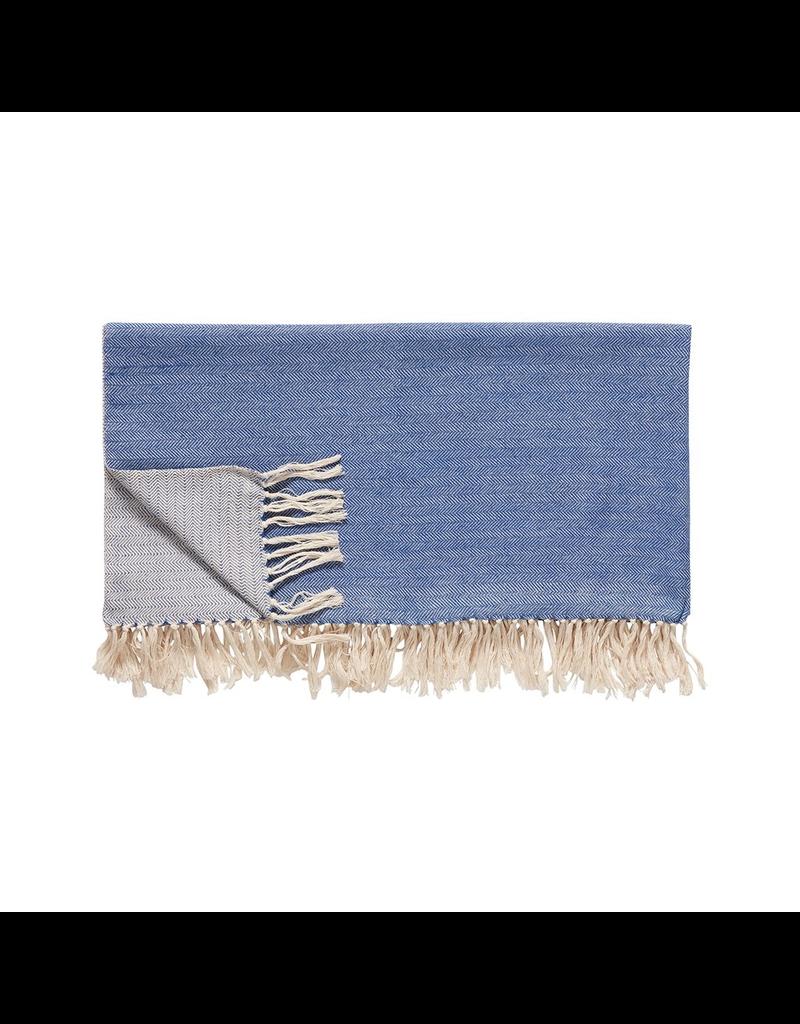 textiel PLAID COTTON BLUE/OFFWHITE 140 x 200 cm