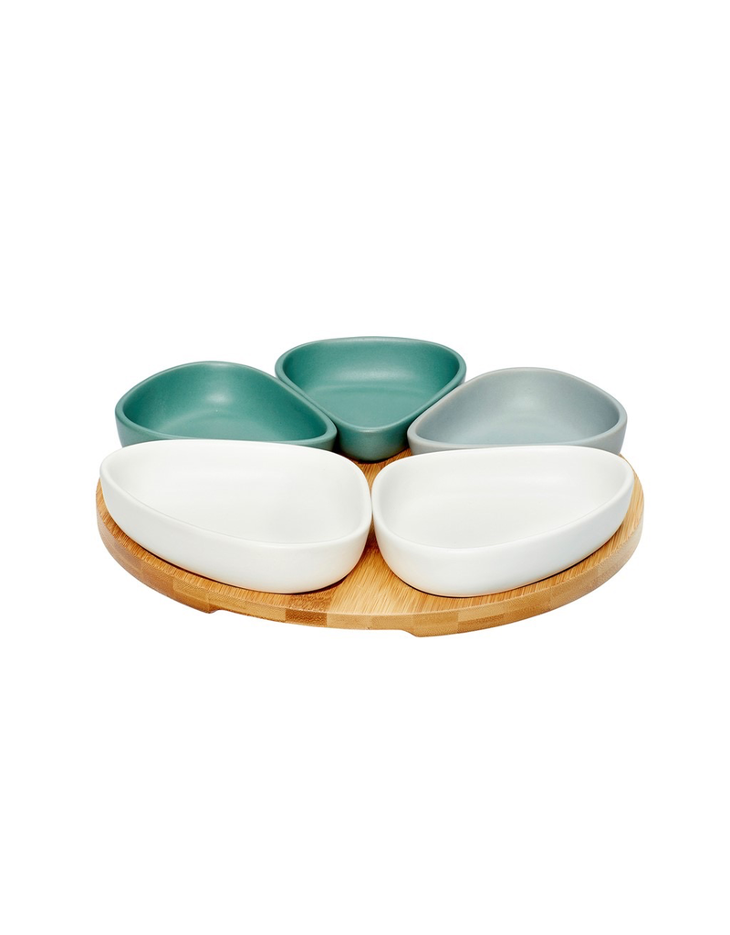 Dienbladen HOLDER W/5 BOWLS, CERAMICS/WOOD, WHITE/GREY/GREEN