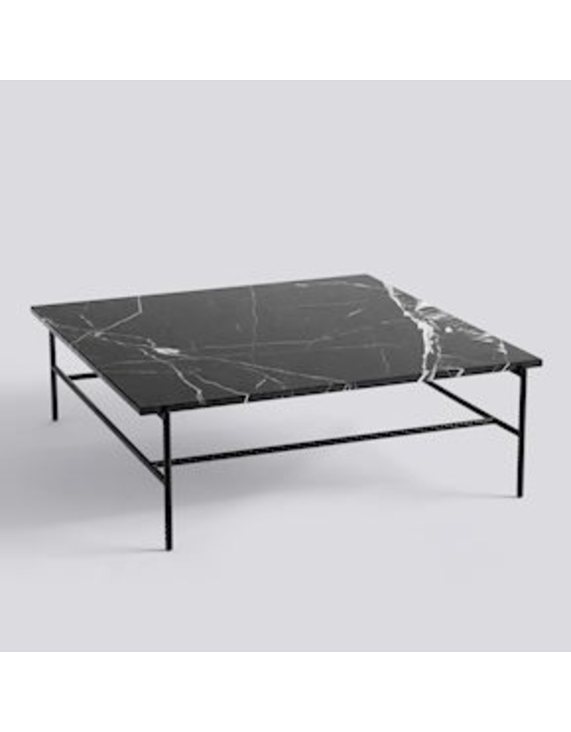 salontafel REBAR COFFEE TABLE / SOFT BLACK POWDER COATED STEEL MARBLE / L100 X W104 X H33