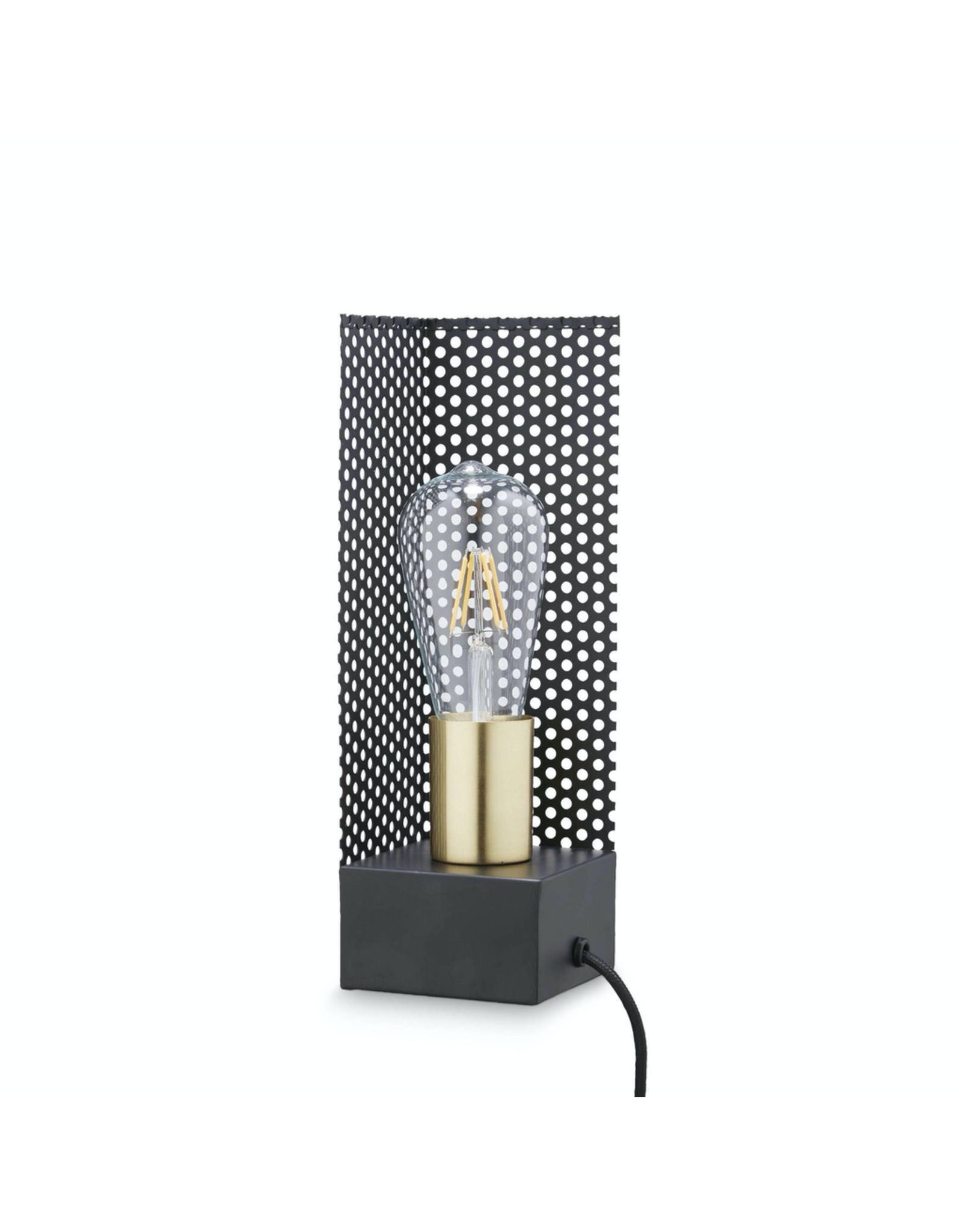 verlichting SQUARE LAMP W/WIRE 9X9 H:28CM BLACK-BRASS