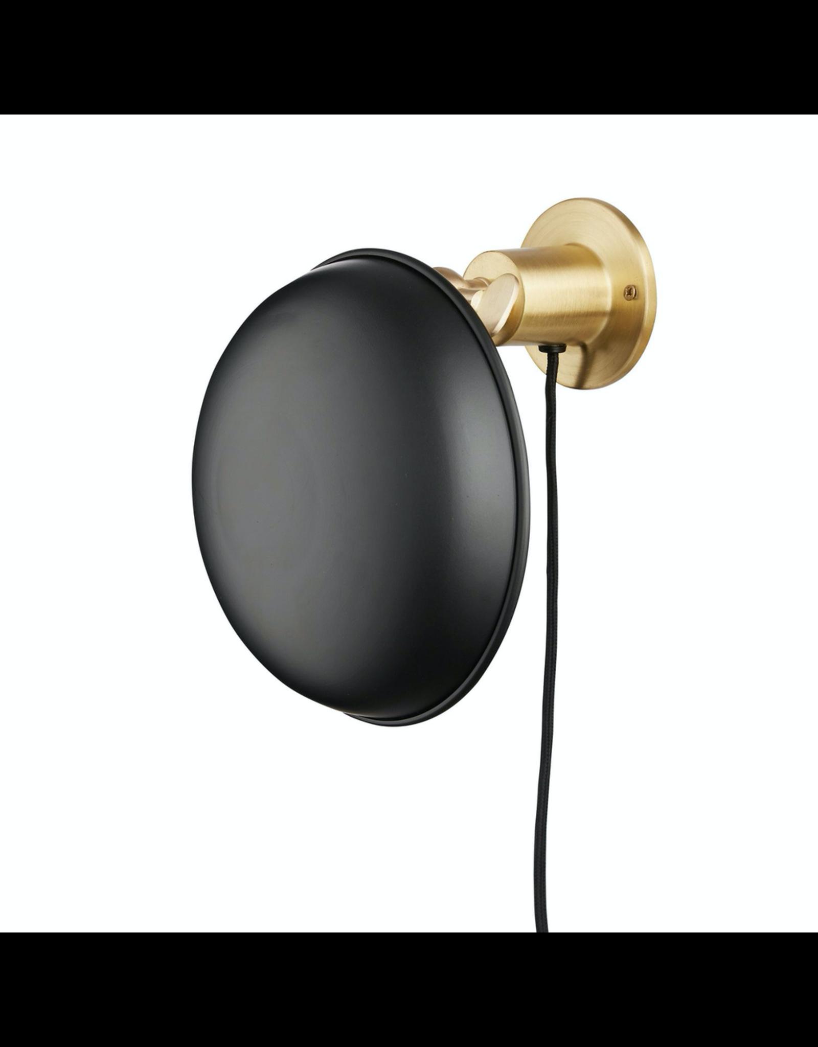 verlichting ROUND WALL LAMP BRASS W. BLACK SHADE