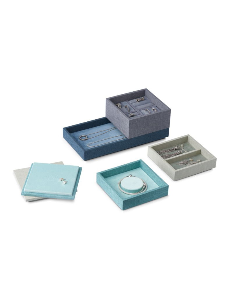 Juwelen STACK Coffret à bijoux L Set 4 pièces - Bleu / Vert / Gris / Turquoise