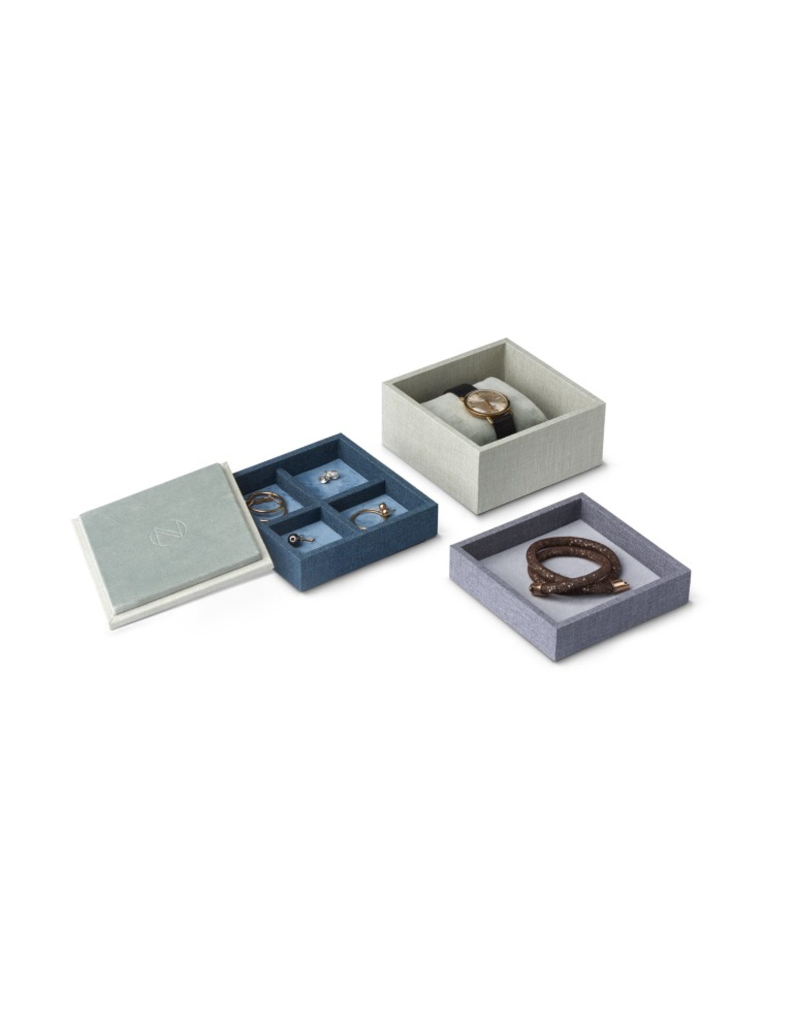 Juwelen STACK Jewellery Box Set S 3pcs set - Blue/Green/Grey