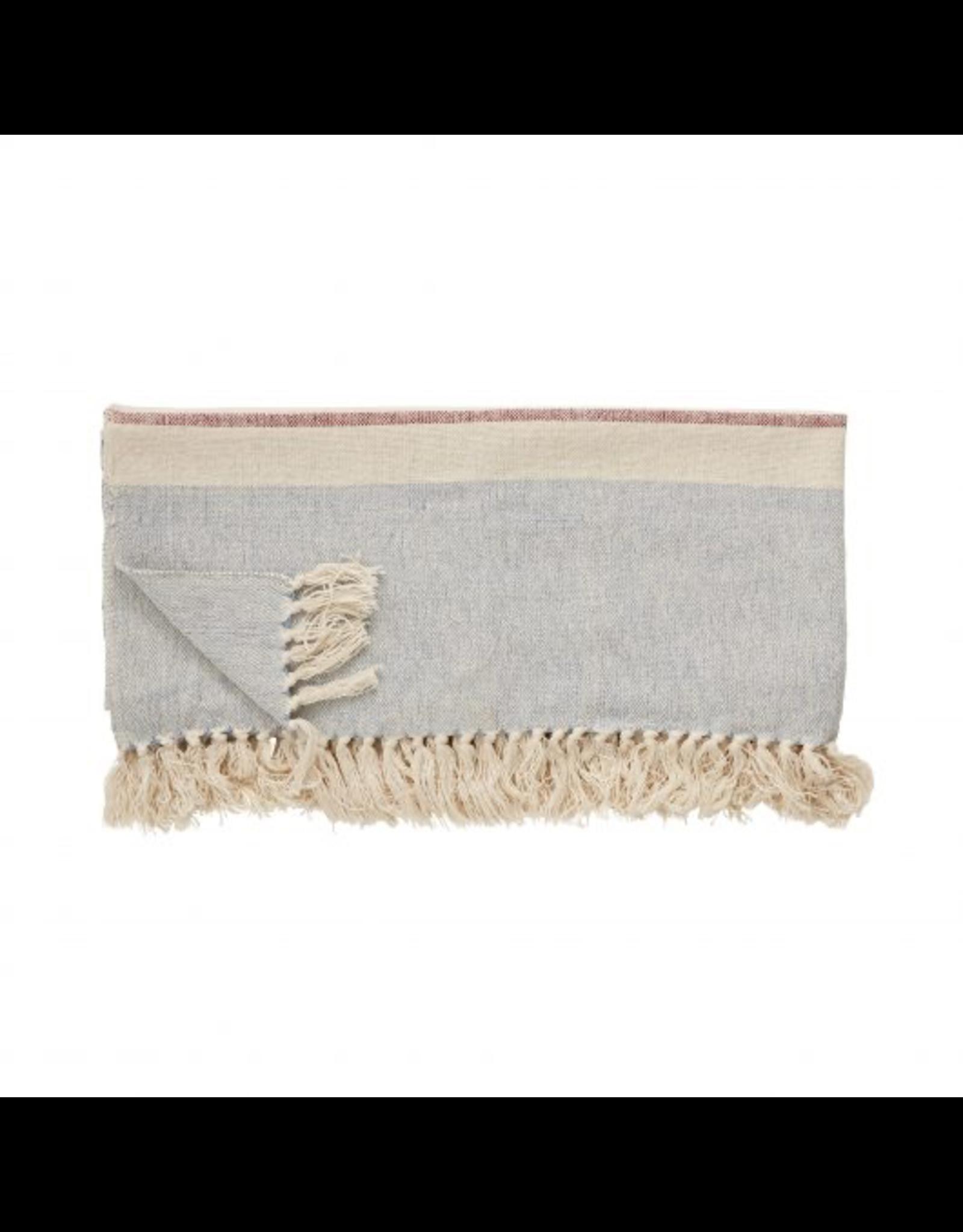 textiel PLAID, COTON, BEIGE / BLEU / ROSE, 140X200CM