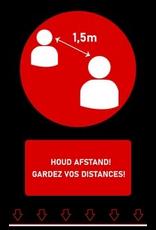 Tapijten Afstandstapijt - Houd afstand! - 150 x 90 cm