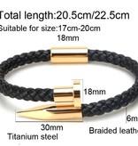 LXRY JEWELS Lederen Nail Armband 6mm Weave Gold