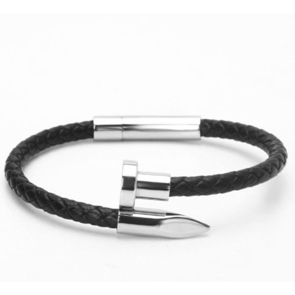 LXRY JEWELS Lederen Nail Armband 6mm Weave Silver
