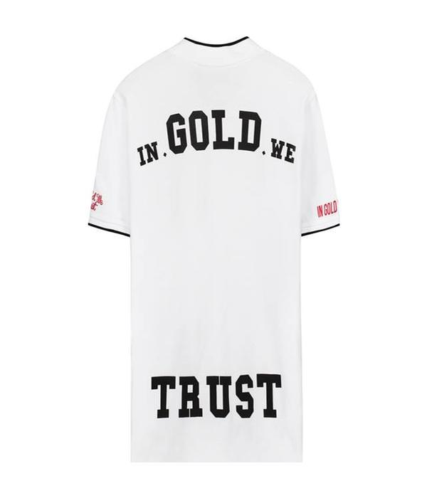 In Gold We Trust IGWT Bomber Collar Polo White