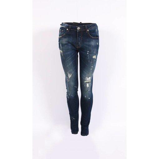 richesse Richesse Skinny Fit Jeans Dark Blue Grote Vlekken H-2202