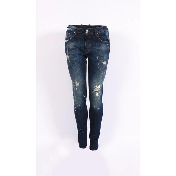 Richesse Skinny Fit Jeans Dark Blue Grote Vlekken H-2202
