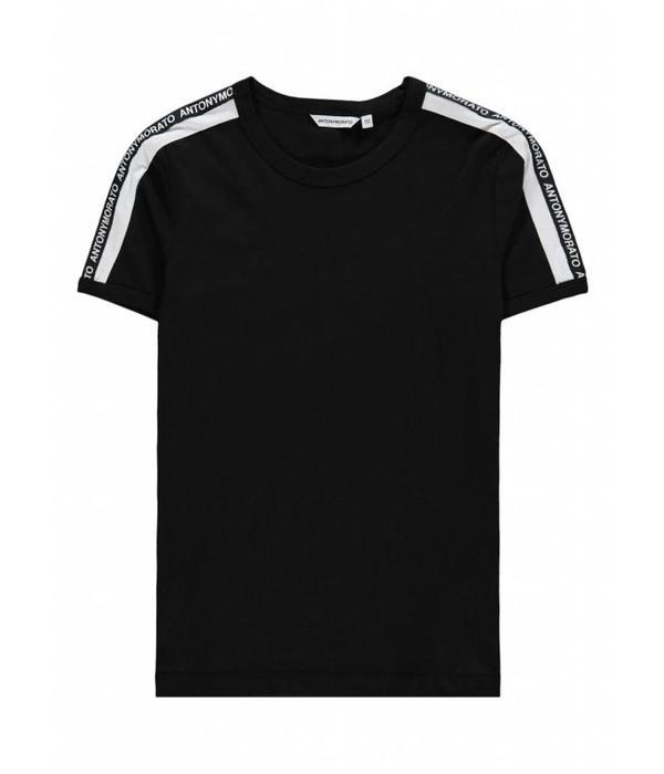 Antony Morato AM T-shirt Wit Streep Zwart MMKS01360