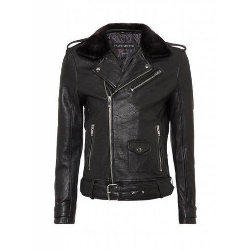 Purewhite Purewhite Leather Jacket met bont 18030410