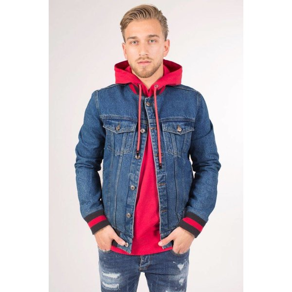 College Logo Denim Jacket Blue