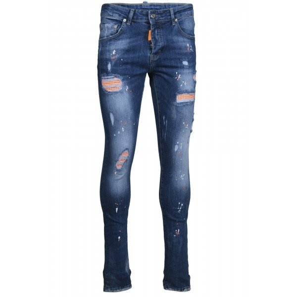 My Brand Neon Orange Studded Washed Jeans Denim Blue