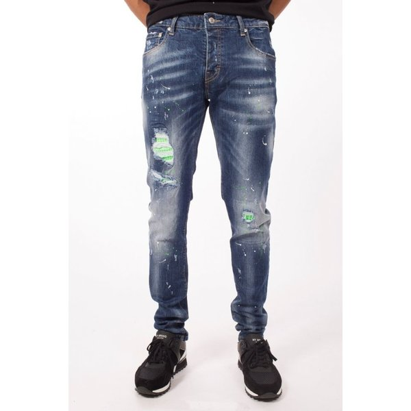 My Brand Neon Green studded Washed Jeans Denim Blue