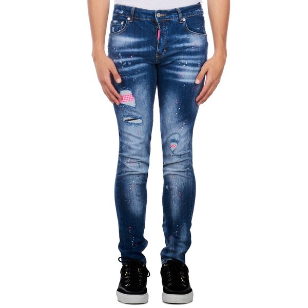 My Brand Neon Pink Studded Washed Jeans Denim Blue